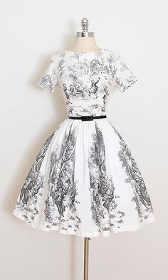 ➳ vintage 1950s dress * white cotton * black pastural toile print * detachable belt * metal back zipper condition | excellent fits like small length 37.5 bodice 15.5 bust 36-38 waist 26-27 some clothes may be clipped on dress form to show best fit for appropriate size. ➳ shop http://www.etsy.com/shop/millstreetvintage?ref=si_shop ➳ shop policies http://www.etsy.com/shop/millstreetvintage/policy twitter | MillStVintage facebook | millst...