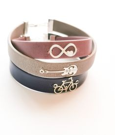 Leather bracelet with silver charm