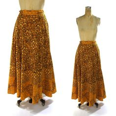 Vintage Batik Wrap Around Skirt / Hippie Maxi Skirt with Floral Pattern $46.00