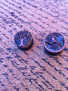 5/8 Stainless Steel Copper Tree and Bird Resin Plugs by PlugsByKat, $24.00