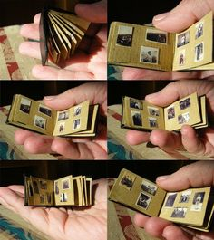 """I made this photo album from brown envelopes, a scrap of black leather, thread and real old family photographs scaled down to 1:12"""" scale for my doll's house.Family Album 1:12' Miniature by Heylormammy"""