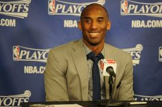 Kobe last night after a huge win against #OKC (his smile says it all) #Playoffs