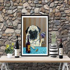 Pug at the Bar Drinking Beer 11x17  dog art print modern artwork