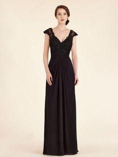 Cap Sleeves V-Neck Long Black Lace Chiffon Mother of The Bride Dresses 99803025