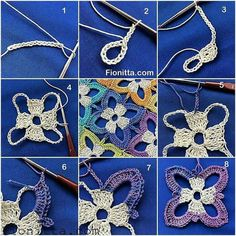 Crochet Flower Motif - Chart ❥ 4U hilariafina http://www.pinterest.com/hilariafina/