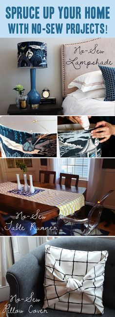 No-Sew Home Decor Projects #DIY #tutorial #pillow #lampshade #runner #holiday #home