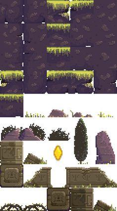 tileSet 2d Game Art, Video Game Art, How To Pixel Art, Pixel Life, Casual Art, Pixel Characters, Tile Art, Tiles, Pixel Art Games