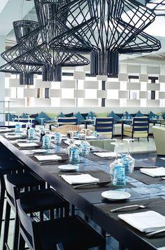 Restaurant at the Hotel Sofitel Essaouira Mogador Golf & Spa, Essaouira, Morocco designed by Didier Gomez