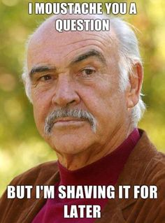I moutache you a question, but I'm shaving it for later.