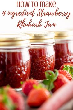 Our strawberry rhubarb jam recipe uses only four ingredients and bursts with the sweet flavor of fresh strawberries and tangy rhubarb. Though you can make it on the stovetop, we use the Instant Pot to make this so it comes together in a snap! One taste and you will never go back to buying regular jam from the grocery store again. You and your family will want to spread this on everything! Video Recipe. Strawberry Rhubarb Jam, Strawberry Recipes, Stove Top Recipes, Canning Recipes, Crockpot Recipes, Rhubarb Jam Recipes, Cold Dishes, Frozen Strawberries, 4 Ingredients