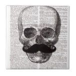 Vintage Skull with Mustache Print on Dictionary Ceramic Tile #halloween #happyhalloween #halloweenparty #halloweenmakeup #halloweencostume
