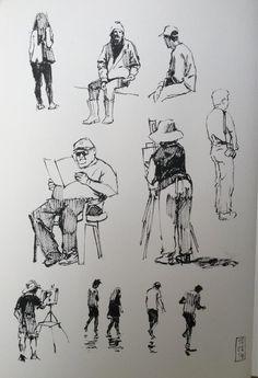 """HaideeJo Summers on is part of pencil-drawings - drawingaugust Day 10 some figure studies in pen today"""" Human Figure Sketches, Human Sketch, Human Figure Drawing, Figure Sketching, Urban Sketching, Painting People, Drawing People, Sketches Of People, Arte Sketchbook"""
