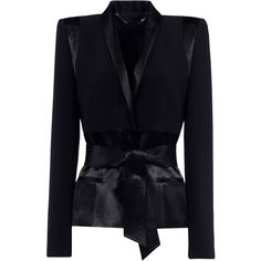 Barbara Bui Blazer (7.415 ARS) ❤ liked on Polyvore featuring outerwear, jackets, blazers, black, blazer jacket, cut out blazer, tuxedo jacket, tuxedo blazer and belted blazer