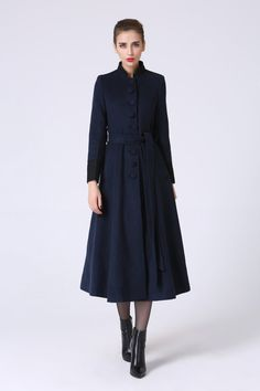 long trench coat, navy coat, elegant coat, wool coat, warm coat, custom made, maxi coat with waist band, winter coat, gift ideas (1061)
