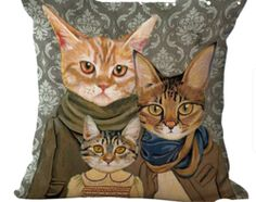 Kitty Family #1 (Neutrals) Pillow Cover