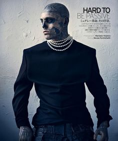 Is it ok to be a little turned on by Zombie Boy in pearls?  Rick Genest by Mariano Vivanco for Vogue Hommes Japan #rick #genest #mariano #vivanco #vogue #hommes