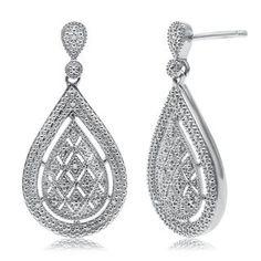 Diamond Marquise Teardrop Earrings with Diamond Accents in Sterling Silver - Sterling Silver Earrings - Earrings - Jewelry - Categories - Helzberg Diamonds