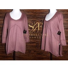 Southern Girl Fashion Tops - RIBBED THERMAL V Neck Tunic Pullover Layering Top