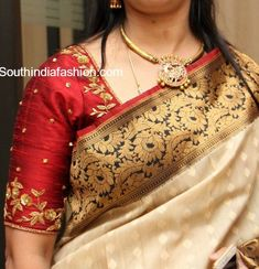 Elbow Length Sleeves Blouse Designs for Kanjeevaram Sarees Elbow Length Sleeves Blouse Designs for Kanjeevaram wedding silk sarees for south Indian brides Wedding Saree Blouse Designs, Pattu Saree Blouse Designs, Blouse Designs Silk, Designer Blouse Patterns, Zardosi Work Blouse, Saree Blouse Patterns, Hand Work Blouse Design, Simple Blouse Designs, Stylish Blouse Design