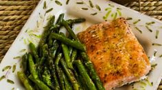 Roasted Wild Salmon and Asparagus with Double-Lemon Oil.  Yum!