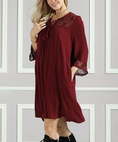 Loving this Raisin Lace-Yoke Tunic Dress - Plus Too on #zulily! #zulilyfinds