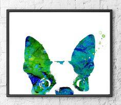 French bulldog art blue green watercolor art print by Thenobleowl