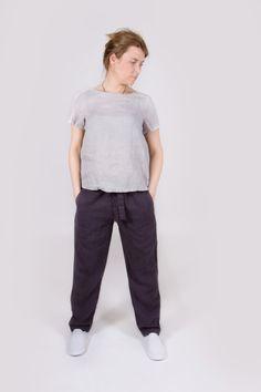 LINEN WOMEN PANTS. Dark grey linen women pants. Linen women trousers. Low rise pants. by Maliposhaclothes on Etsy