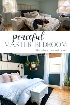 This DIY master bedroom makeover from Christina Maria shows how you can transform your space from chaotic and messy to peaceful and calm. Before and after photos and video breaks down the process of making over a bedroom with a board and batten wall, dark Home Decor Signs, Unique Home Decor, Cheap Home Decor, Blogger Home, Home Decor Inspiration, Decor Ideas, Wood Ideas, Master Bedroom Makeover, Minimalist Home Interior