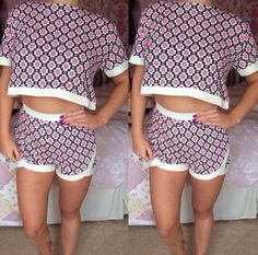 Missguided Pink Patterned Two Piece (Top And Shorts) Co-ord Venice Campaign 8/6