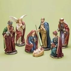 Large 5 piece Nativity Scene in cotton candy BLUE and CLEAR Mary Joseph Baby Jesus Nativity Shepherds Angels* Wise Men