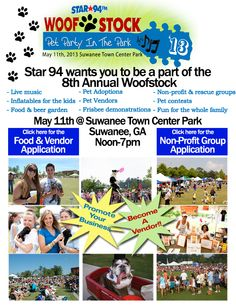 Looking for something to do this weekend? Grab your pooches and head out to Star 94′s Woofstock 2013 in Suwanee. We will be joining tons of other rescue groups and pet-related vendors to celebrate the 8th annual event on Saturday from noon-7 pm. Be sure to stop by our booth and say hello! We'll have some of our dogs for adoption with us, as well as merchandise and raffle tickets for the June cabin raffle. See you there!