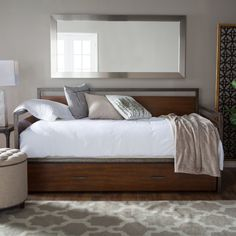 Decker Daybed - Walnut - The Decker Daybed - Walnut adds functional sleeping space to tight quarters. Made of metal and wood with a walnut finish, this collection includes...