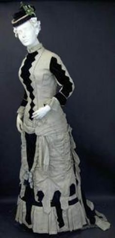 Afternoon dress, pale green and black velvet, American, ca. 1878. Fashion History Museum Facebook