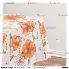 Shop Roses Orange Modern Chic Floral Print Tablecloth created by AsilDesigns. Pink And White Flowers, Orange Flowers, Floral Flowers, Rose Wedding, Floral Wedding, Wedding Day, Rose Orange, The Perfect Touch, Dog Bowtie
