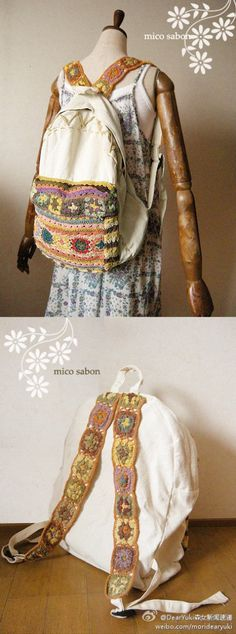 Crochet and fabric backpack - just for inspiration - no pattern ++GANCHILLO Y… Crochet Belt, Crochet Fabric, Crochet Cross, Love Crochet, Crochet Motif, Diy Crochet, Crochet Patterns, Crochet Squares, Crochet Backpack