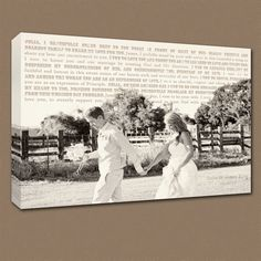 Wedding day photo on canvas, with first dance lyrics