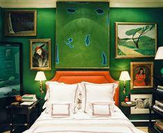 La Maison Boheme - emerald green bedroom my Miles Redd