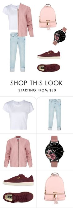 """Untitled #171"" by welcome-to-newyork on Polyvore featuring RE/DONE, Zara, Helmut Lang, Olivia Burton, Puma and MICHAEL Michael Kors"