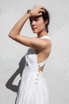 Electric Feathers Traveling Pinafore in White Cotton