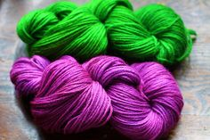 Some folks dye eggs on Easter, but I simmered up some wool in my favorite green and purple instead. Soak yarn in warm-ish water and white vinegar in a simmering/soup pot for a while. I don't know h...