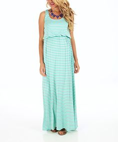 Take a look at the PinkBlush Maternity Aqua & White Stripe Maternity Maxi Dress - Women on #zulily today!