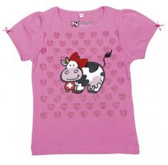 T-Shirt Milch-Kuh, rosa / T-shirt Milk Cow, Pink / This T-shirt with sweet bows on the sleeves looks cute in little girls. The T-shirt has a cow on it and around it many little hearts.