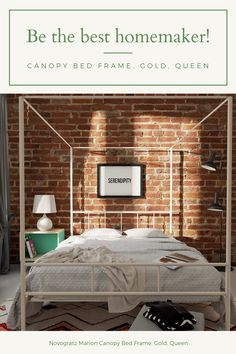 Novogratz Marion Canopy Bed Frame, Gold, Queen Country Curtains Catalog, Canopy Bed Frame, Interior Decorating, Interior Design, Soft Furnishings, Bed Sheets, Window Treatments, Luxury Homes, Upholstery