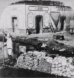 Pulqueria La Judia, sobre el Canal de la Viga en Iztacalco, se observa a un hombre navegando en una trajinera, con frutas y legumbres para comercializar en los mercados de la ciudad de Mexico. finales del siglo XIX