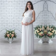 Maternity Dress Autumn Maternity Party Dress Maternity Dress Solid High Split Design For Graceful Mom