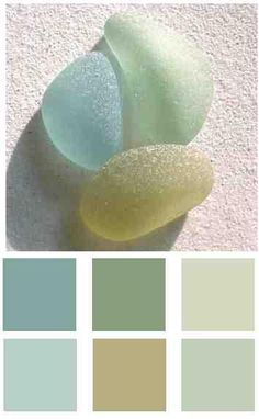 pastel blues and greens : seaglass paint colours