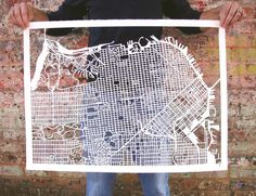 San Francisco map hand drawn and hand cut from thick watercolor paper.