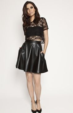 CACEY Skirt from Jesse Rowes. Flared skirt, pockets, high-waisted, leather,