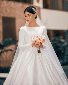 Elegant A-line Long Sleeve Simple Wedding Dresses, - Hochzeitskleid Wedding Dress Silk, Wedding Dress Sleeves, Long Sleeve Wedding, Modest Wedding Dresses, Elegant Wedding Dress, Bridal Dresses, Wedding Gowns, Style Blogger, Dresses Elegant