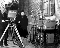 RCA Laboratories on December 1, 1939 demonstrated its newly developed light-weight portable television field pick-up equipment before members of the Federal Communications Commission in Washington, DC.   Shown in the picture are James Lawrence Fly, Chairman of the FCC, focusing the television camera; Commissioners Thad H. Brown, Norman S. Case, and T.A.M. Craven.